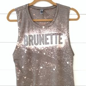 Brunette graphic distressed leopard muscle tee top